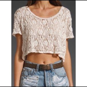 Free People Lace Cropped Shirt
